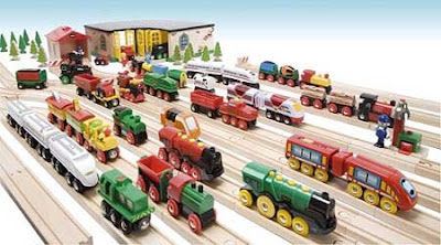 Many different colored brio happy henry thomas trains photo