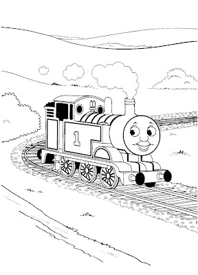 Paint Tank Thomas colouring pages for kids with Thomas riding in the mountains