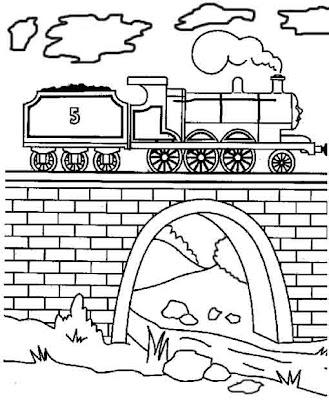 Steam train James engine coloring page for kids to print and color