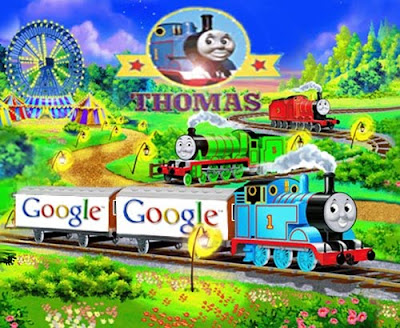 Lucky Thomas with google train carriage boxes.