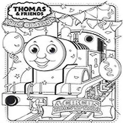 Train celebration with coloring Thomas party print out sheets
