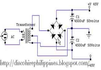The circuit schematic diagram show the amplifier power supply layout