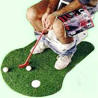 Humorous golf toilet seat and Potty putter practice putting green bathmat rug with golf warning Sign