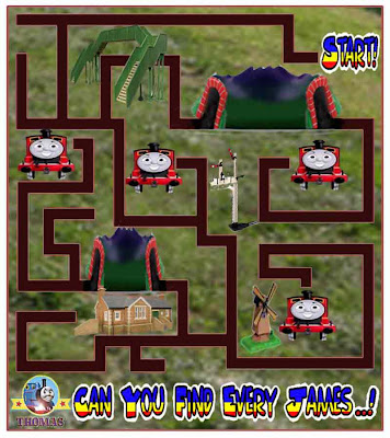 Thomas the tank engine games free online maze puzzle for children activities James the red engine