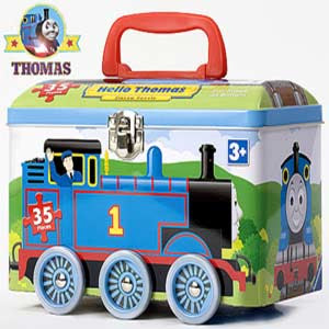 The Friend and Thomas tank lunch box with wheels is a strong metal for eating time food treads