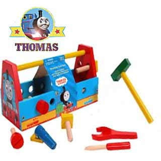 kids toy Thomas Tools with toolbox set finished in wood featuring the train Thomas picture artwork