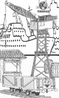 Printable arts and crafts free online coloring characters Thomas the tank engine cranky the crane