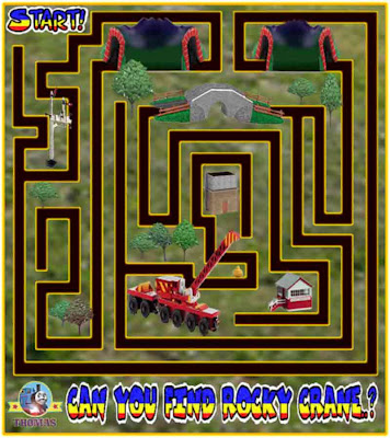 Cool printables preschool maze games for children play free online Thomas and friends Rocky crane