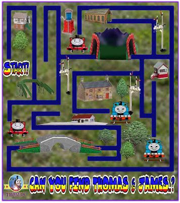 Fun educational activities for preschool kids maze games with train Thomas and James the red engine