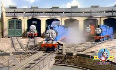 Thomas the train roundhouse Tidmouth shed railway turntable track with blue Gordon the big engine