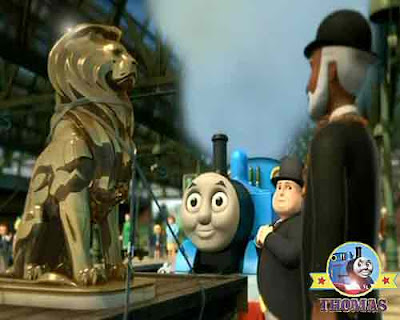 Thomas and the Lion of Sodor Island railway Sir Topham Hatt town Mayor of Sodor at Knapford station