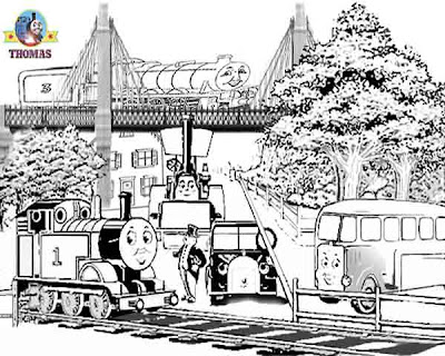 Caroline car Bertie bus Buster steam train Henry and Thomas the tank engine coloring pages for kids