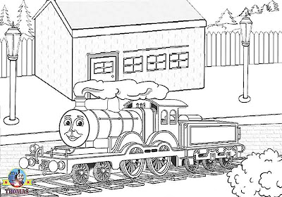 Childrens Tomas tank coloring free online printable picture sheets with tank engine Molly the train