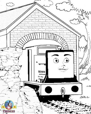 kids Thomas the tank engine coloring pages realistic family fun images train rusty and the boulder