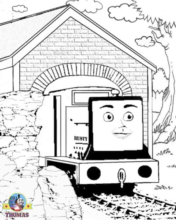 coloring pages realistic family fun images train rusty and the boulder title=