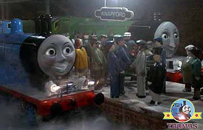 Thomas and friends Edward the train and big Henry the green engine waiting for the railway visitors