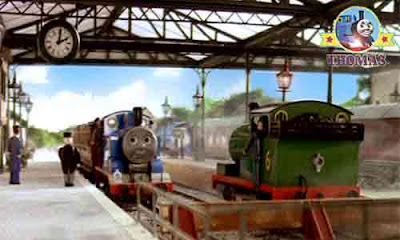 Thomas the train and Percy the green engine with Sir Topham Hatt is certainly delighted seeing them