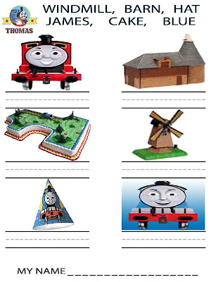 Learn simple handwriting kindergarten printable worksheets activities for children with Thomas train