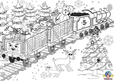 Printable Christmas colouring pages for kids James the red engine pulling a winter holiday toy train