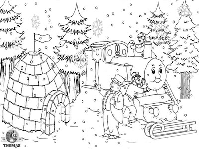 Pre k drawing Thomas the train printable pictures of ice house snow winter colouring pages for kids