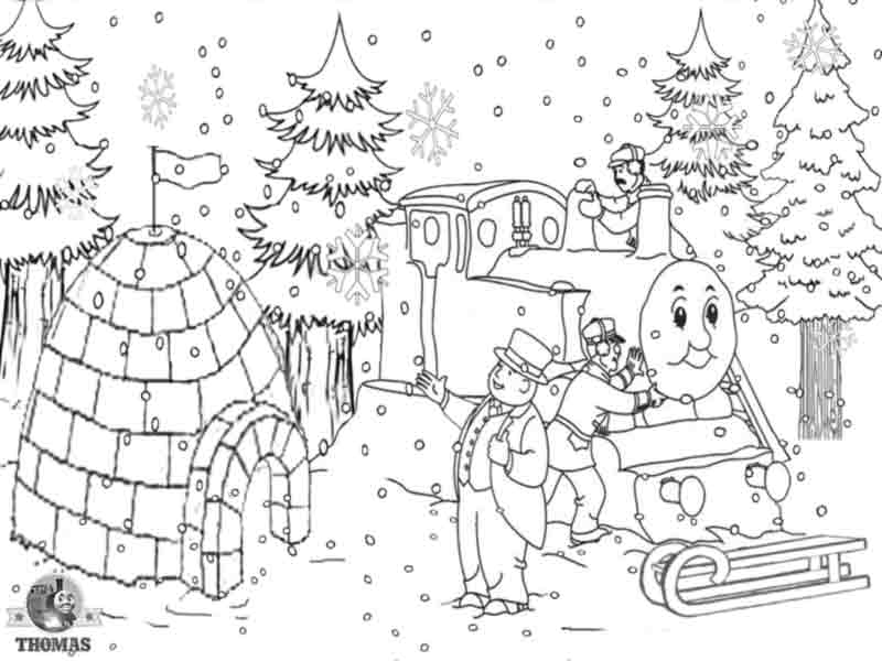 Pre k drawing Thomas the train printable pictures of ice house snow  title=