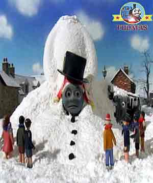 Winter snow train Oliver tank engine village young childrens ideas for Christmas theme decorations