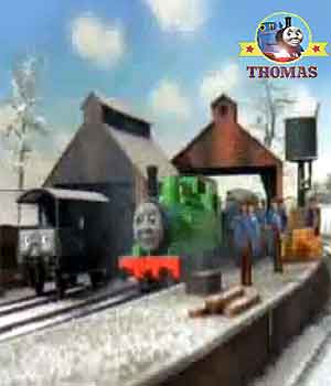 Sodor winter snow train Thomas and friends Oliver the tank engine and Duck are great western engines
