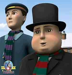 Sir Topham Hatt arrived for the frosty snowman party with jobs for Thomas James and Percy the train