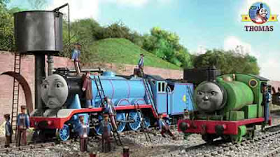 Fastest Gordon the big express engine and Chocolate Percy the tank engine at Maron Sodor water tower