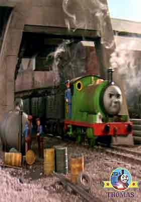 Percy the tank engine loading muddy troublesome trucks at cranky and Salty the train Brendam docks