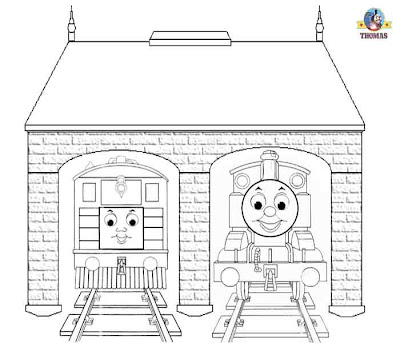 Printable vintage railway engine steam tram Toby and Thomas the train coloring pages for kids fun