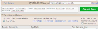 Blogger - New Post Form Page with Technorati Tag Generator