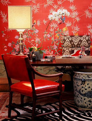 red wallpaper for living room. Retro wallpaper for modern living room. Today the demand extravagant florals