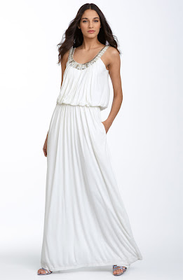 BCBGMAXAZRIA Stone and Bead Blouson Jersey Gown