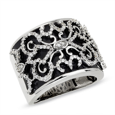 Diamond Vintage Black Enamel Ring