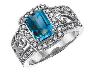 Blue Topaz Gemstone Cocktail Ring