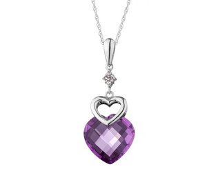 Amethyst Pendant with Diamonds
