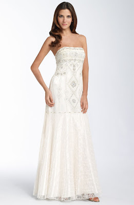 Sue Wong Beaded Strapless Lace Gown
