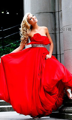 Strapless Red Ball Gown