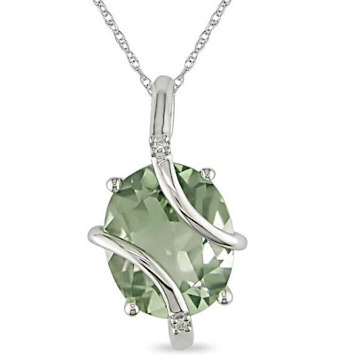 Green Amethyst and Diamond Accent Pendant