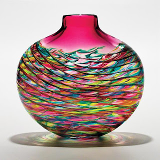 Optic art glass vase