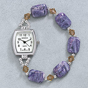 Sterling Genuine Agate Beaded Watch