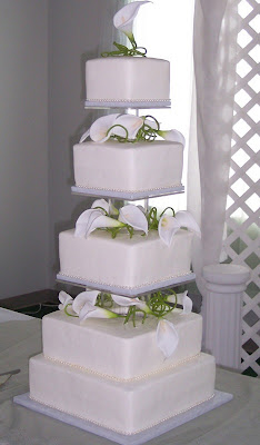 Elegant White Tower  Wedding Cake
