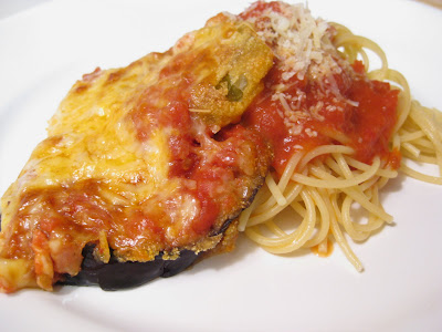 food for scot: Eggplant and Fried Green Tomato Parmesan with Spaghetti ...