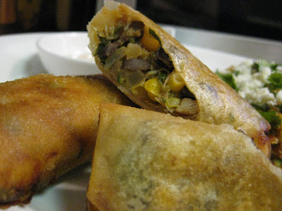 food for scot: Zucchini and Corn Quinoa with Mexican Egg rolls