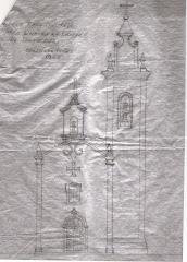 Ideia para construir Torre Sineira na Igreja de Santa Cruz;  Agostinho Lopes 1945