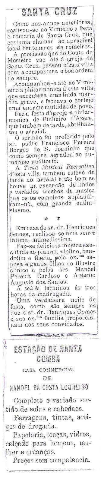 Uma noticia do Vimieiro de Maio de 1908 no Jornal Beira Alta