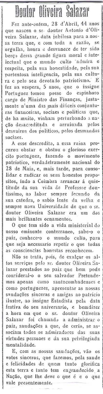 Noticia de 30 de Abril de 1933