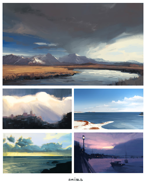 Speed painting studies of skies and clouds from photo reference, with some mountains, fields and other fun stuff thrown in the mix