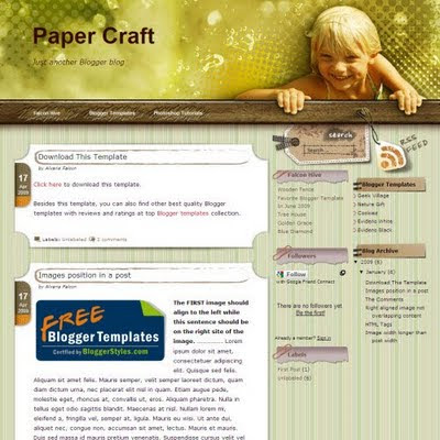 Paper Craft 3 Columns Blogger Template